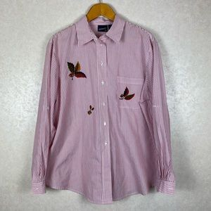 Vintage Long Sleeve Striped Button Up Shirt